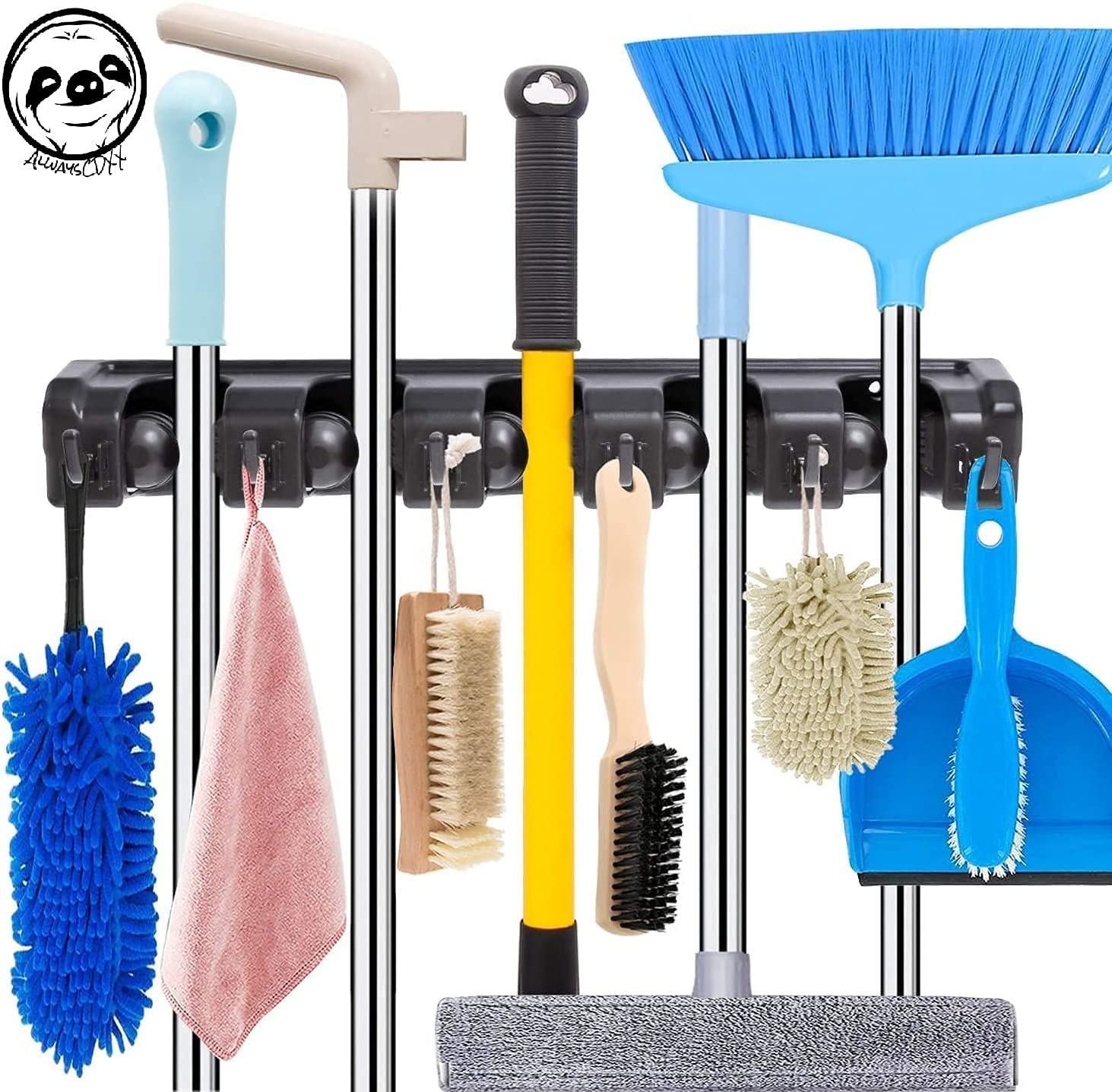 Mop and Broom Holder Wall Mount Heavy Duty Broom Holder Wall Mounted Broom Organizer Home Garden Garage Storage Rack Indoor/Outdoor Handles Up to 1.25-Inches, 1 Pack, Black