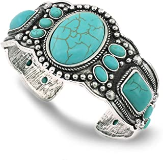 Women's Antique Rgentium Plated Base Heart Compressed Turquoise Bracelet Cuff Bangle Fashion Jewelry