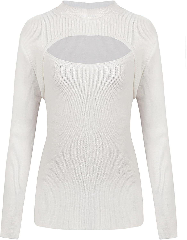 Dealwell Women's Soft Long Sleeve Knit Mock Turtle Neck Keyhole Pullover Sweater