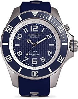 KYBOE! Power Stainless Steel Quartz Watch with Silicone Strap, Blue, 22 (Model: KY.48-031.15)