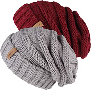 Knitted Winter Slouchy Beanie Hat Oversized Unisex Crochet Cable Ski Cap Baggy Slouch Hats for Women Men 2 PCS Pack