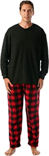 Pajama Set for Men with Thermal Henley Top and Polar Fleece Pants