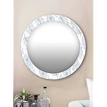 999Store Printed White and Grey Leaves Round Mirror (MDF_24X24 Inch_Multi)