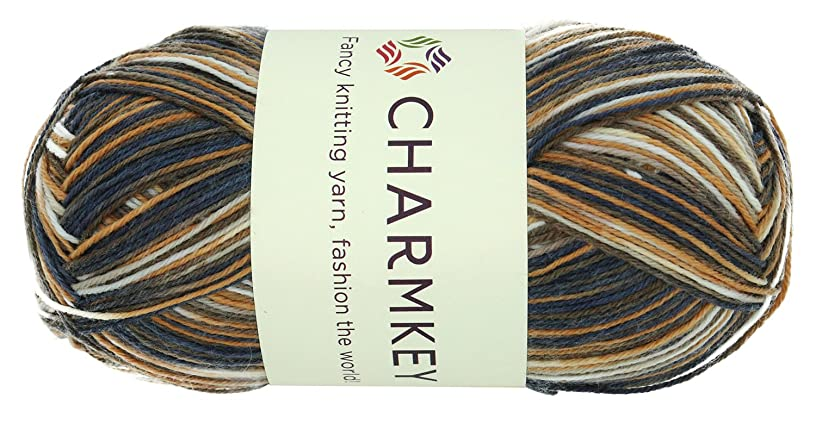 Charmkey Painted Sock Yarn Baby Soft Thin 2 Fine Colorful Prints Wool Ease Blended 3 Ply Superwash Acrylic Self Striping Thread for Stocking Glove Hat, 1 Skein, 3.53 Ounce (Autumn Forest) fjxo622737634038