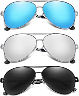 BOTPOV Polarized Aviator Sunglasses for Men and Women-UV400 Protection Mirrored Lens -Metal Frame with Spring Hinges