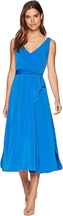 Lindy Pleated Neck Tie Around Midi Dress