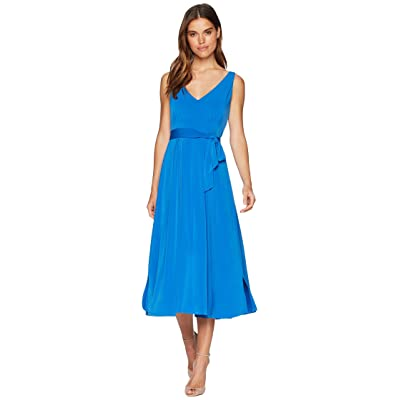 CATHERINE Catherine Malandrino Lindy Pleated Neck Tie Around Midi Dress (Victoria Blue) Women