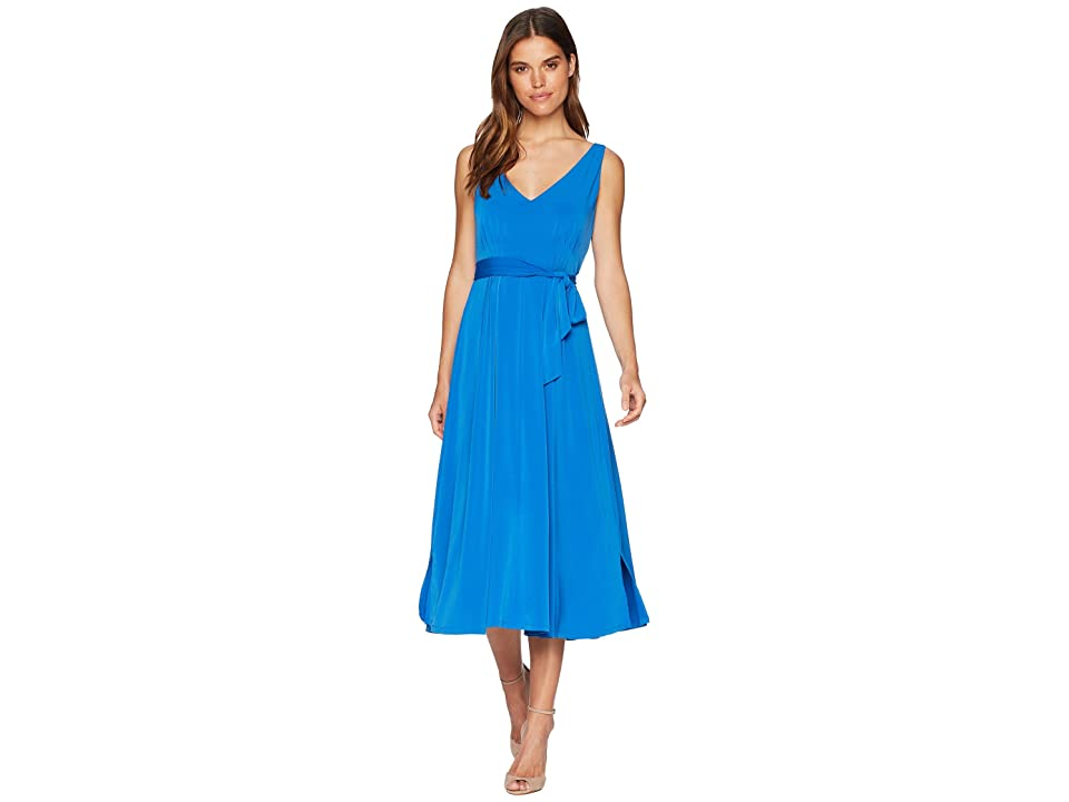 CATHERINE Catherine Malandrino Lindy Pleated Neck Tie Around Midi Dress (Victoria Blue) Women
