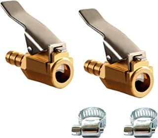 2 Sets Air Chuck 1/4 Inch Tire Chuck Brass Tire Inflator Open Flow Straight Lock-on Air Compressor Hose End with Barb Conn...