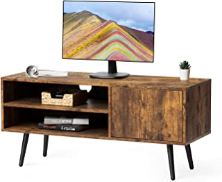 Kicode TV Stand, Flat Screens Console Table with 2 Tiers Storage Shelf and Cabinet, Retro Wood Look Accent Furniture for Living Room, Office, Rustic Brown