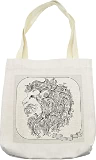 Ambesonne Zodiac Tote Bag, Visage of Zodiac Sign Leo with Flowers on Hair the King of Forest Horoscope Theme, Cloth Linen Reusable Bag for Shopping Books Beach and More, 16.5