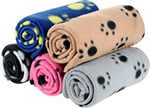 MarJunSep 5 Packs 5 Colors Lovely Pet Paw Prints Fleece Blankets for Dogs Cats Small Pets Animals