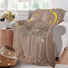 Luoiaax Whale Comfortable Large Blanket Steampunk Whale Flying in The Air with Moons and Stars Artistic Hand Drawing Microfiber Blanket Bed Sofa or Travel W80 x L60 Inch Brown and White