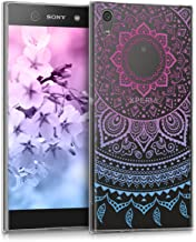 kwmobile TPU Silicone Case for Sony Xperia XA1 Ultra - Crystal Clear Smartphone Back Case Protective Cover - Blue/Dark Pink/Transparent