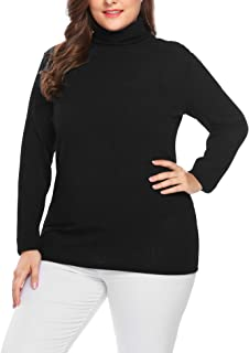 Women's Plus Size Sweaters Turtleneck Knit Pullover Sweater Long Sleeve Lightweight Stretch Rib Slim Tunic Tops