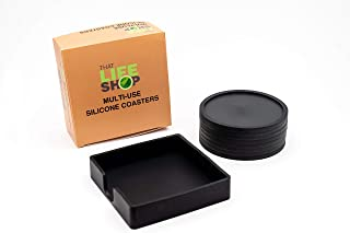 Silicone Coasters for Drinks - Non-Slip Tabletop Protection - Set of 8 With Holder, Black - Multi-Use: Trivet, Jar Opener, Soap Dispenser Holder, Drink Protector - Prevents Water Marks-That Life Shop