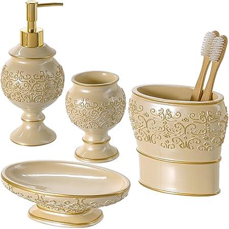 morado Fdit incluye soporte para cepillo de dientes, jab/ón, dispensador de jab/ón, taza de lavado, accesorios decorativos perfectos para el ba/ño Juego de 4 accesorios para traje de ba/ño