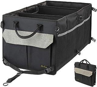 Organizador de maletero lavable para automóvil con 9 bolsillos - 3 COMPARTIMENTOS Almacenamiento plegable con rayas antideslizantes, caja de almacenamiento de maletero duradero para SUV
