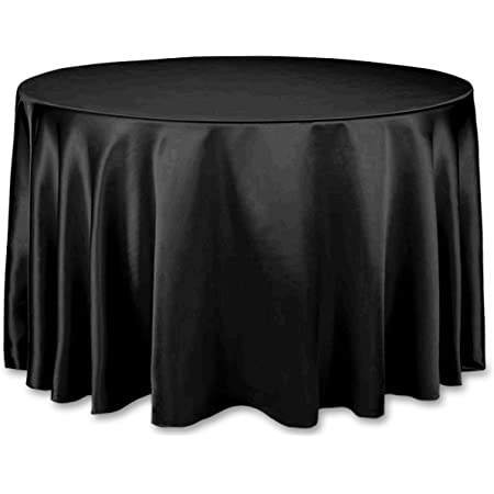 Bridal Satin Round Tablecloth Black 58-Inch