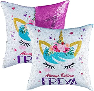 Unicorn Sequins Throw Pillow Case for Girls Kids,Christmas Festival Decorative Reversible Mermaid Cushion Cover Room Decor for Sofa Bed 16