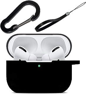 最新版 AirPods Pro ケース 3点パーフェクトセット カバー カラビナ ストラップ 付 エアーポッズ プロ 用 耐衝撃 ワイヤレス充電可 前面LEDが見える! (ブラック)