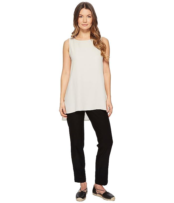 Eileen Fisher  Bateau Neck Long Shell (Bone Silk Georgette Crepe) Womens Clothing