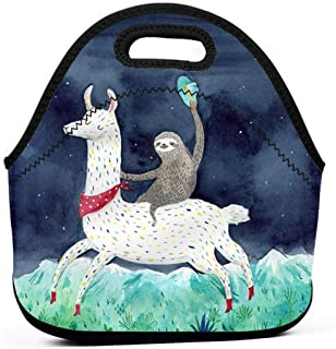 Sloth Riding Llama Insulated Neoprene Lunch Bag Tote Handbag lunchbox Food Container Gourmet Tote Cooler warm Pouch For Sc...