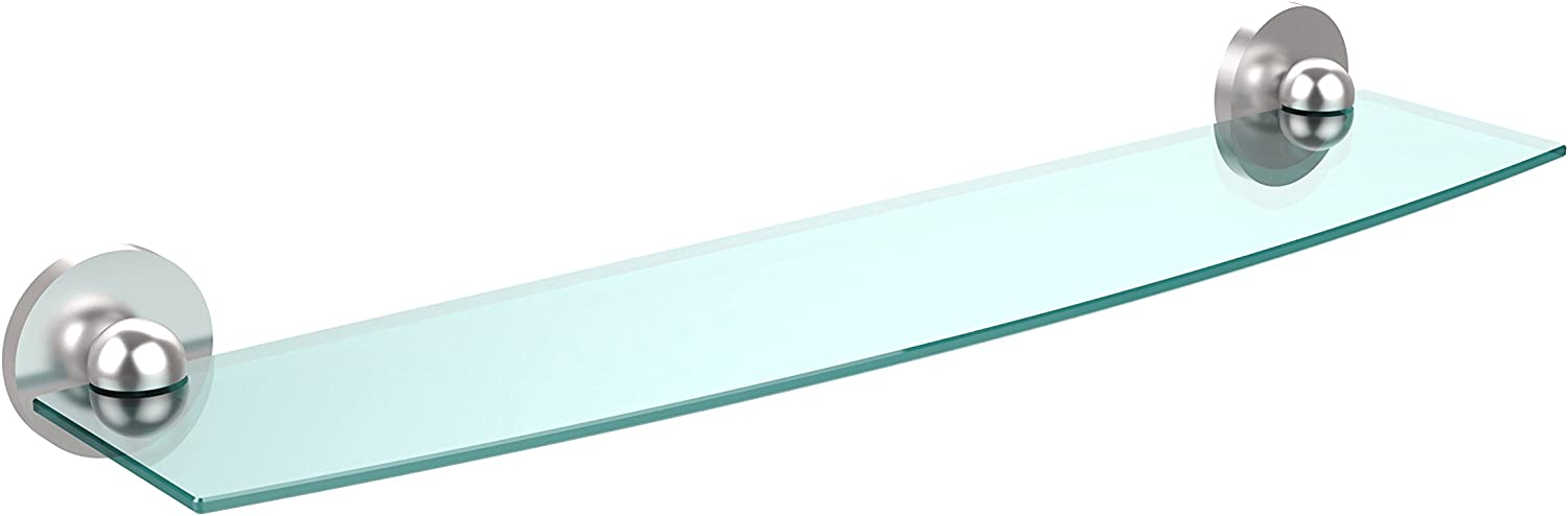Allied Brass 1033 24-SCH 24-Inch Beveled 1 4-Inch Glass Shelf Satin Chrome