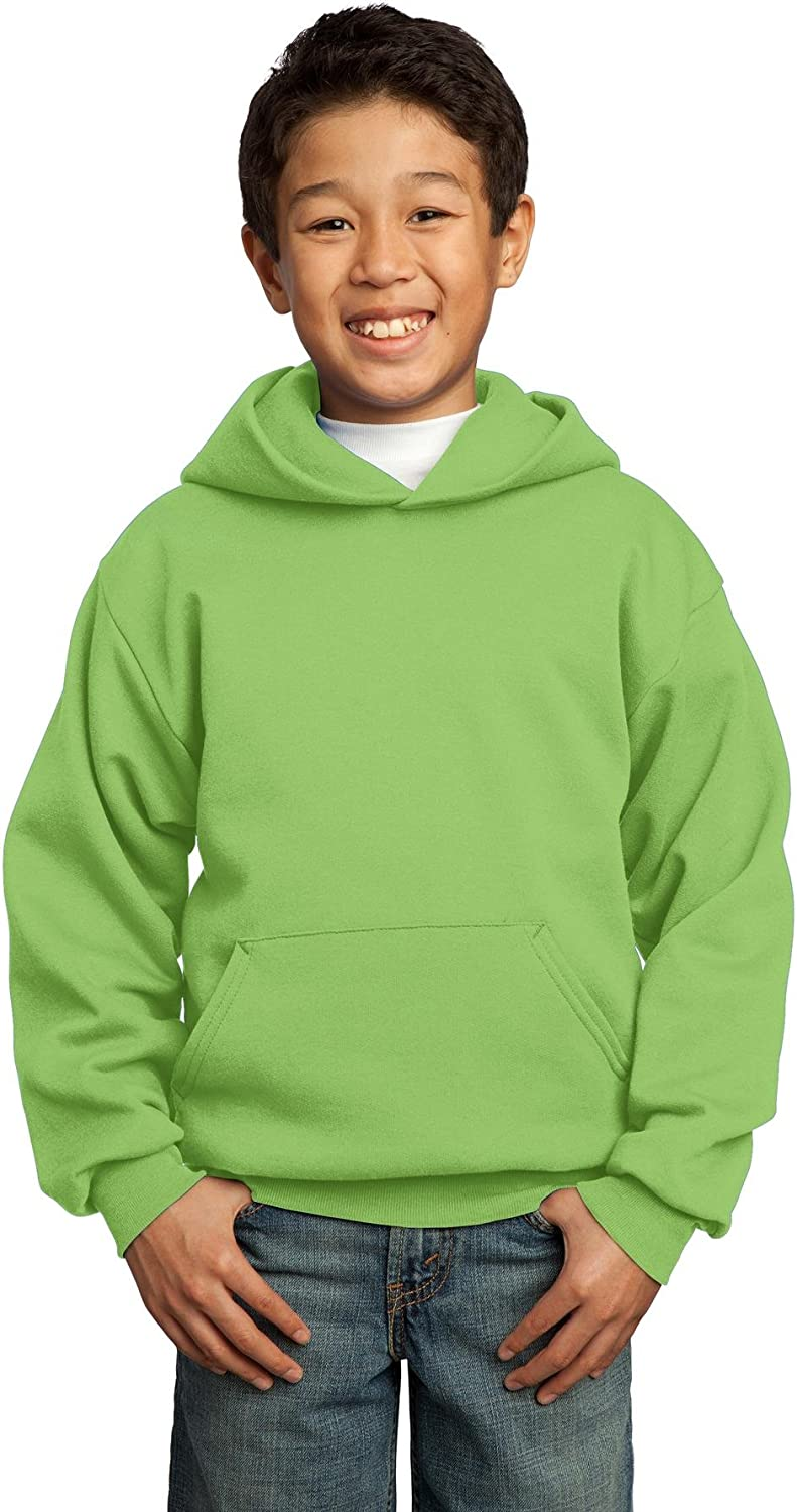 Port & Company-Youth Core Fleece Pullover Hooded Sweatshirt. PC90YH Lime