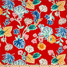 Telio Sofia Rayon Challis Print Floral Red, Fabric by the Yard