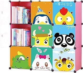 KOUSI Toy Organizer Toy Storage Portable Toy Organizers for Kids Children Toy Organizers and Storage Multifuncation Cube Storage Shelf Cabinet Bookcase Bookshelf, Capacious & Study, Pink, 9 Cubes