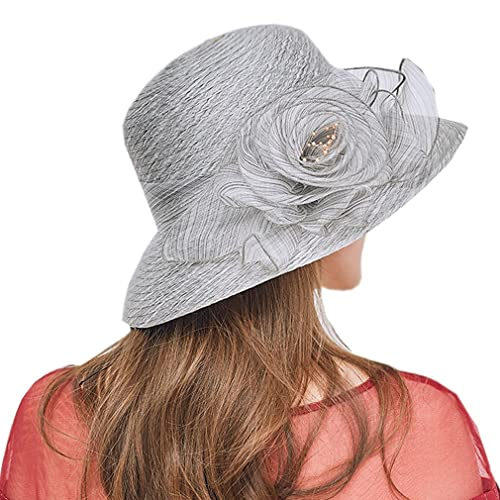 092467dfdc90c Nercap Women s Fascinator Tea Party Wedding Church Dress Kentucky Derby  Hats Wide Brim Summer Cap