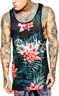 Men's Floral Tank Top Sleeveless Tees All Over Print Casual Sport Gym T-Shirts Hawaii Beach Vacation