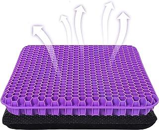 Cojín de Asiento de Gel Púrpura, Cojín de Silla de Apoyo Transpirable con Funda Antideslizante para el Coche, Oficina o Silla de Ruedas