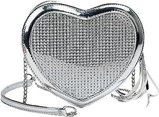Wultia - Fashion Simple Small Love Heart Bag Women's Designer Handbag High-Quality PU Leather Tassel Chain Shoulder Bags #G8 Silver