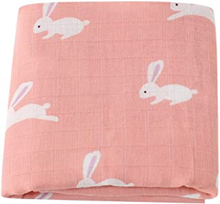 """LifeTree Muslin Swaddle Blankets Girls, Bunny Print Baby Swaddle Blanket, 70% Bamboo 30% Cotton, 47""""x47"""" Breathable, Soft Nursing Cover, Wrap, Burp Cloth"""