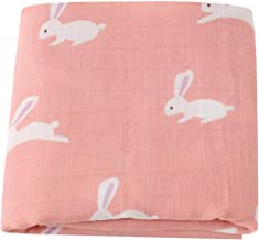 LifeTree Muslin Swaddle Blankets Girls, Bunny Print Baby Swaddle Blanket, 70% Bamboo 30% Cotton, 47