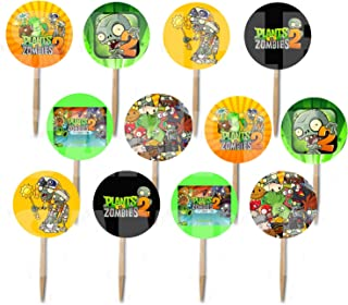 Party Over Here Plants vs Zombies 2 Video Game Double-Sided Images Cupcake Picks Cake Topper -12