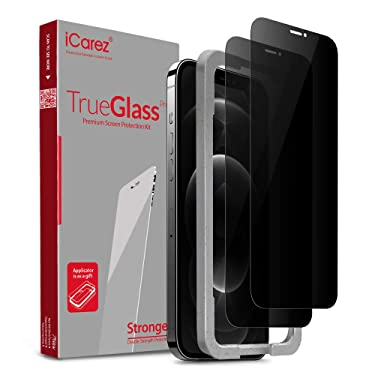 iCarez Privacy Tempered Glass Screen Protector for iPhone 12 Pro Max 6.7-Inch Tray Installation (Case Friendly) Easy Apply [ 2-Pack 0.33MM 9H 2.5D] Anti Spy