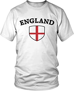 Amdesco Men's England Flag Shield, English Pride T-Shirt