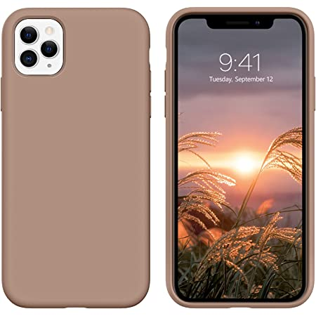 """DUEDUE iPhone 11 Pro Case, Liquid Silicone Soft Gel Rubber Slim Cover with Microfiber Cloth Lining Cushion Shockproof Full Body Protective Case for iPhone 11 Pro 5.8"""" 2019, Light Brown"""