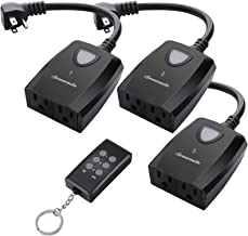 DEWENWILS Outdoor Indoor Remote Control Outlet Power Strip Weatherproof, Wireless Electrical Plug in Light Switches, Separately Controlled 3 Pack Receivers, 15 AMP, 100 FT Range, ETL Listed