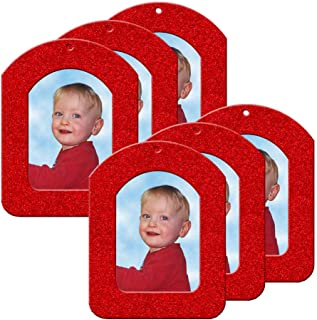 Mini Magnetic Glitter Christmas Photo Frame Ornaments for Holiday Picture Frame Gifts and Tree Decoration - 6-Pack, Vertical - Red