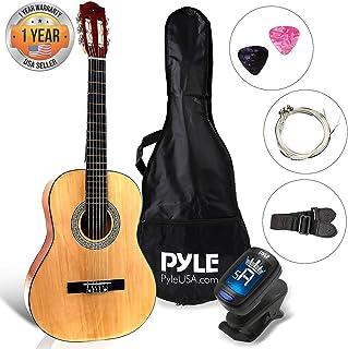 "Beginner 36"" Classical Acoustic Guitar - 6 String Junior Linden Wood Traditional Guitar w/Wooden Fretboard, Case Bag, Tuner, Nylon Strings, Picks, Cloth, Great for Beginners, Children - Pyle PGACLS82"