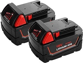 VANON 3.0Ah 18v Battery for Milwaukee, Li-ion Pack Battery for Milwaukee m 18b 48-11-1820 48-11-1850 48-11-1828 48-11-10 Cordless Power Tools