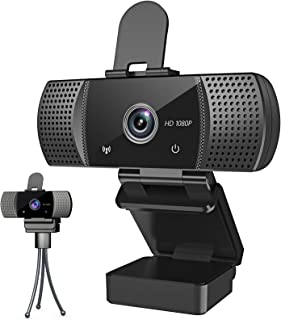 Webcam with Microphone Full 1080P HD with Privacy Cover & Tripod 110°Wide View Angle Plug and Play Laptop Desktop USB 2.0 ...