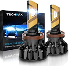 TECHMAX H11 LED Headlight Bulb,360 Degree Adjustable Beam Angle Cree Chips 12000Lm 6500K Xenon White Extremely Bright H8 H9 Conversion Kit of 2