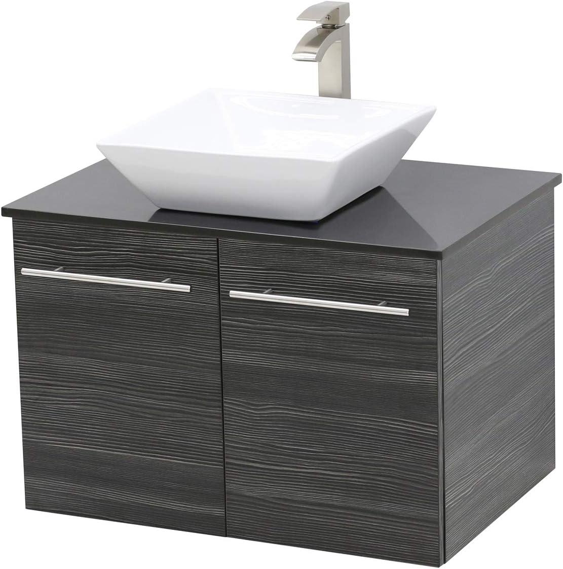 Windbay Wall Mount Floating Bathroom Vanity Sink Set Dark Grey Vanity Black Flat Stone Countertop Ceramic Sink 24 Amazon Com