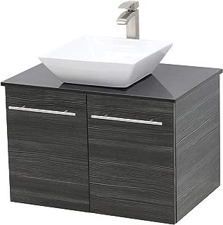 WindBay Wall Mount Floating Bathroom Vanity Sink Set. Dark Grey Vanity, Black Flat Stone Countertop Ceramic Sink - 30