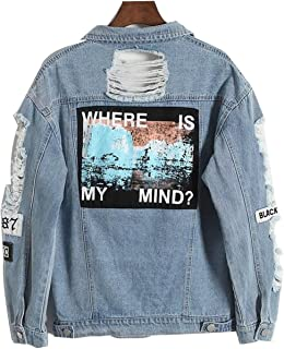 MERRYDAY Retro Washing Frayed Embroidery Letter Patch Bomber Jacket Blue Ripped Distressed Denim Coat Female